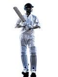 Silueta del bateador del jugador del grillo Fotografía de archivo libre de regalías