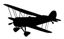 Silueta del biplano de la vendimia Fotos de archivo
