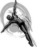 Silueta del bosquejo del salto de la natación Imagenes de archivo