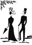 Silueta del caballero y de la señora Foto de archivo libre de regalías