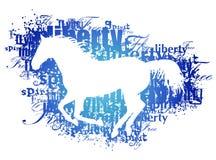 Silueta del caballo con palabras Imágenes de archivo libres de regalías