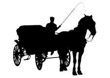 Silueta del caballo y del carro Foto de archivo libre de regalías