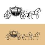 Silueta del carro con el caballo Imagen de archivo libre de regalías