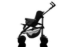 Silueta del carro de bebé de los cochecitos de niño del cochecito Fotos de archivo