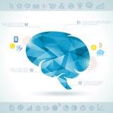 Silueta del cerebro con los iconos del interfaz Imágenes de archivo libres de regalías