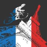Silueta del ciclista y de la torre Eiffel Fotos de archivo libres de regalías