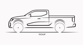 Silueta del coche del vector Vista lateral de la recogida Fotografía de archivo libre de regalías