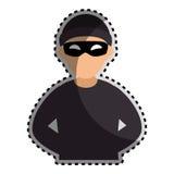 Silueta del color de la etiqueta engomada con el pirata informático criminal libre illustration
