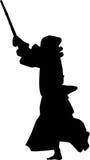Silueta del combatiente de Kendo Imágenes de archivo libres de regalías