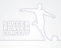 Silueta del concepto del futbolista del fútbol Imágenes de archivo libres de regalías
