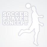 Silueta del concepto del futbolista del fútbol del título Fotografía de archivo libre de regalías