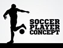 Silueta del concepto del futbolista del fútbol Imagen de archivo