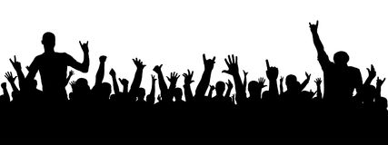 Silueta del concierto de rock Una muchedumbre de gente en un partido Silueta alegre de la muchedumbre La gente del partido, aplau ilustración del vector