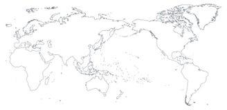 Silueta del contorno del esquema del mapa del mundo - Asia en el centro ilustración del vector