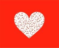 Silueta del corazón en notas rojas y musicales Fotos de archivo
