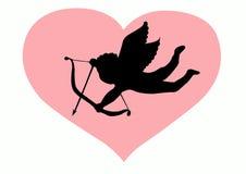 Silueta del Cupid del amor Foto de archivo libre de regalías
