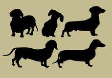 Silueta del dachshund stock de ilustración