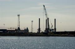 Silueta del Dockland Imagen de archivo