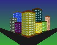 Silueta del edificio por la tarde Diseño moderno de la ciudad Edificios en el fondo oscuro azul del cielo Ilustración del vector