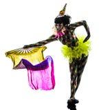 Silueta del ejecutante del bailarín de circo del arlequín de la mujer foto de archivo