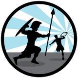 Silueta del ejemplo de David que lucha con Goliat imagen de archivo