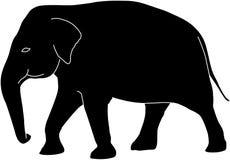 Silueta del elefante con los esquemas blancos libre illustration