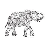 Silueta del elefante del vector con el modelo abstracto Foto de archivo
