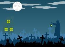 Silueta del encargado del cementerio y del cementerio de Halloween con la linterna Fotos de archivo libres de regalías