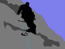 Silueta del escalador de roca Fotos de archivo