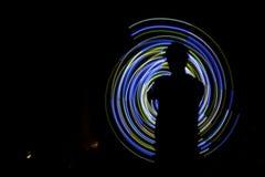 Silueta del espiral del Poi Imagen de archivo libre de regalías