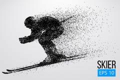 Silueta del esquiador aislada Ilustración del vector