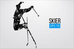 Silueta del esquiador que salta aislada Ilustración del vector