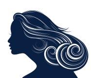 Silueta del estilo de pelo de la mujer Imagenes de archivo