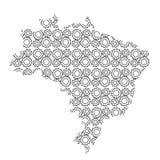 Silueta del extracto del país del mapa del Brasil del dri industrial de los engranajes stock de ilustración