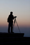 Silueta del fotógrafo. Fotografía de archivo