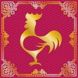 Silueta del gallo con el marco oriental rojo Fotos de archivo libres de regalías