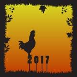 Silueta del gallo del fuego en la puesta del sol Imagenes de archivo