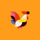 Silueta del gallo lindo del estilo del remiendo Gallo plano del vector Fotografía de archivo libre de regalías