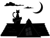 Silueta del gato de la noche Foto de archivo libre de regalías