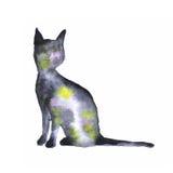 Silueta del gato del espacio de la acuarela Imágenes de archivo libres de regalías