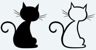 Silueta del gato negro Foto de archivo libre de regalías