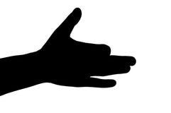 Silueta del gesto de mano Fotos de archivo libres de regalías
