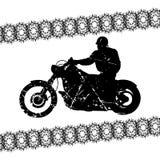 Silueta del grunge del motorista para su diseño Imagen de archivo