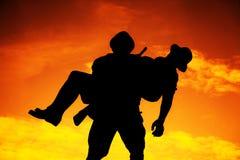 Silueta del guerrero Imagen de archivo libre de regalías