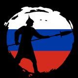 Silueta del guerrero en la bandera de Rusia y el fondo negro Fotografía de archivo