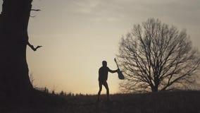 Silueta del guitarrista en la cámara lenta de la puesta del sol metrajes