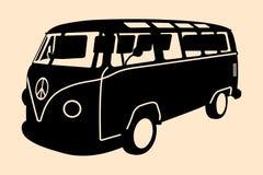 Silueta del hippie del minivan Imagen de archivo libre de regalías