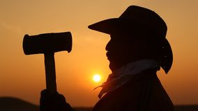 Silueta del hombre con el martillo en sistema del sol almacen de metraje de vídeo