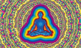 Silueta del hombre con yoga que hace interior de la noche estrellada en la posición de la flor de loto con la aureola de 7 colore ilustración del vector