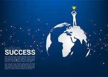 Silueta del hombre de negocios con la situaci?n del trofeo del campe?n en mapa del mundo ilustración del vector